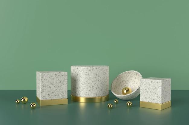 Podium d'affichage de produits de luxe sur fond vert. rendu 3d