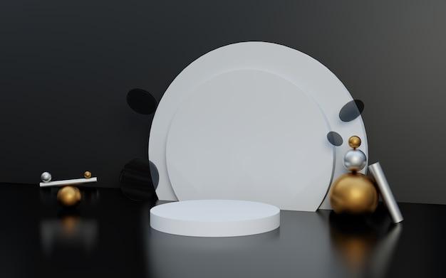 Podium d'affichage de produits en noir et blanc