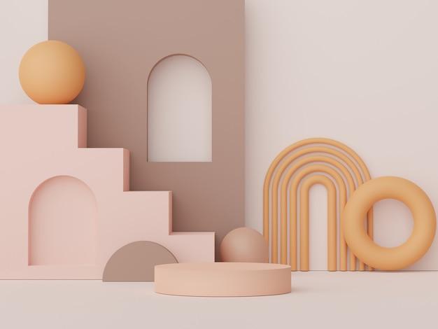 Podium d'affichage de rendu 3d pour la présentation de produits et de cosmétiques scène minimale pour la publicité