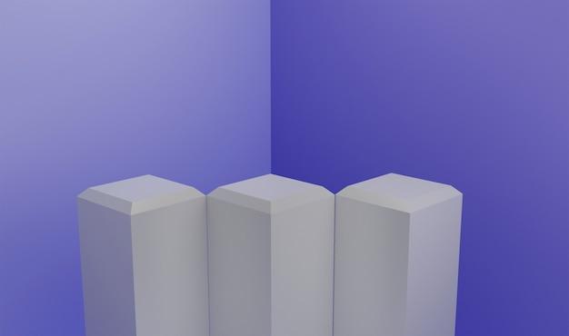 Podium en argent 3d avec fond bleu