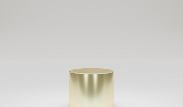 Podium argent minimaliste avec fond gris élément de conception de rendu illustration 3d