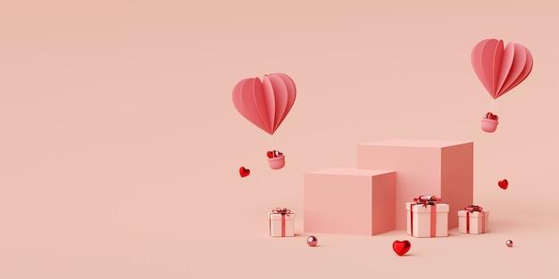Podium avec ballon en forme de coeur avec rendu 3d de boîte cadeau