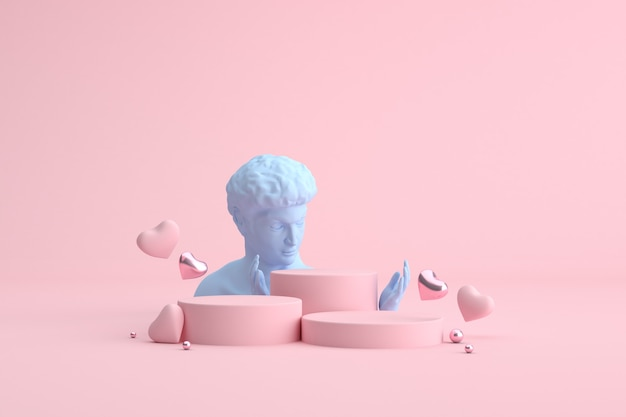 Podium de ballons coeur et sculpture humaine, présentation du produit.