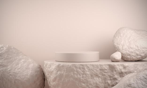 Podium de base en marbre blanc avec rochers de grès