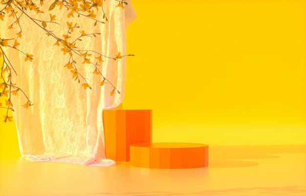 Podium de beauté orange avec fond orange pour l'affichage du produit avec rendu 3d de fleurs de printemps