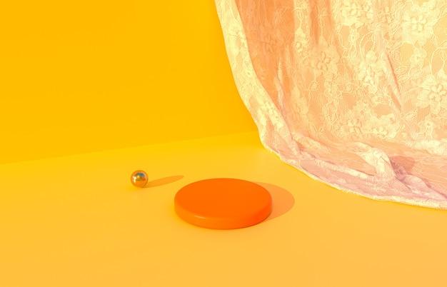 Podium de beauté orange avec fond orange pour l'affichage du produit avec rendu 3d de rideau de dentelle