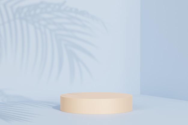 Podium beige sur surface bleu pastel avec ombre de feuille tropicale