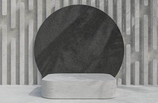 Podium en béton pour la présentation du produit et cercle de roche noire sur fond de mur en béton, modèle et illustration 3d de style minimal.