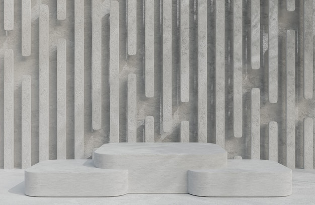 Podium en béton pour la présentation du produit sur fond de mur en béton, modèle 3d et illustration de style minimal.