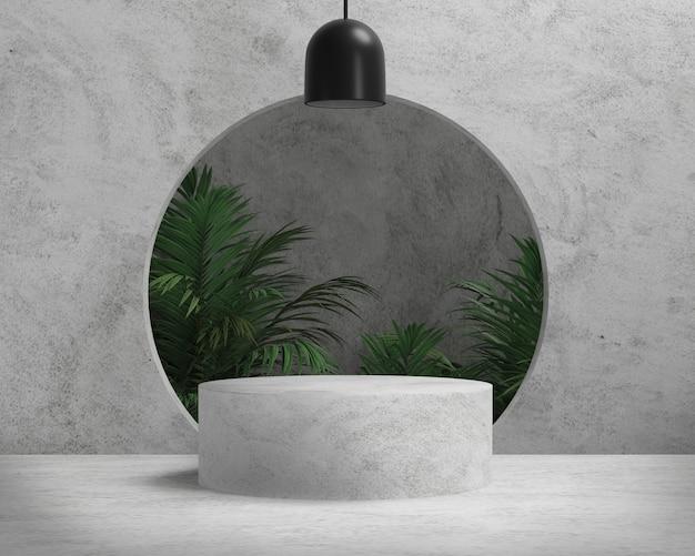 Podium en béton de rendu 3d avec palmiers, fond abstrait, piédestal pour exposition de produits de marque.