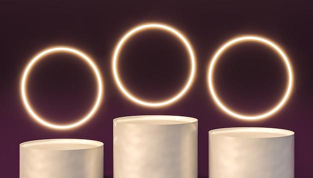 Podium blanc avec anneaux lumineux, fond violet. rendu 3d.