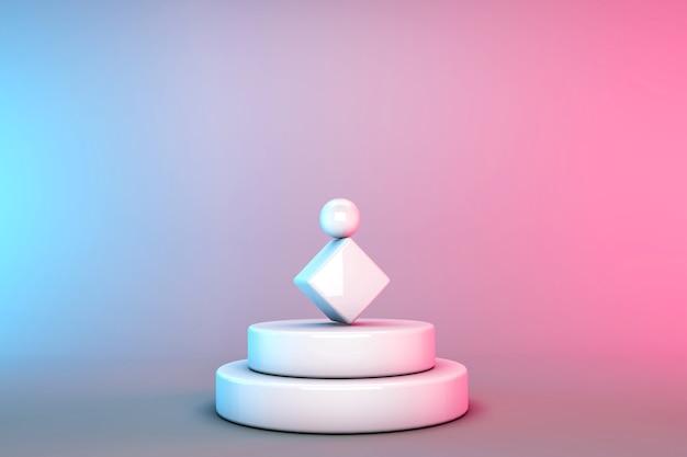 Podium blanc dans des formes géométriques sur rose et bleu, rendu 3d