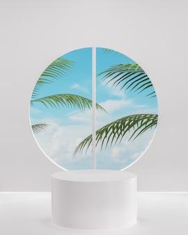 Podium blanc sur fond blanc pour le placement de produit avec ciel bleu nuageux océan 3d render