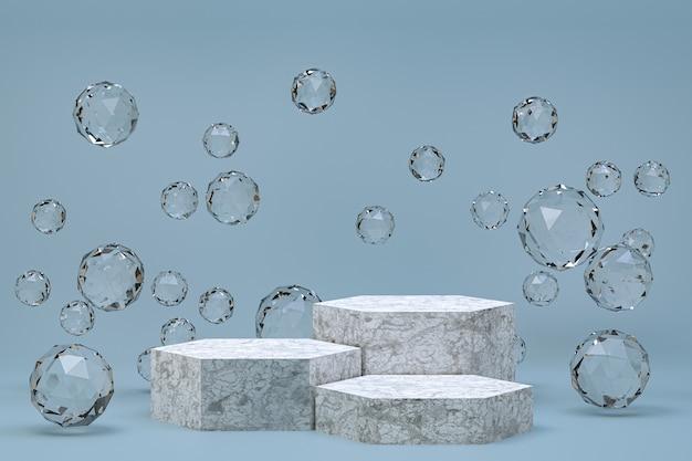 Podium blanc fond gris abstrait minimal pour la présentation de produits cosmétiques