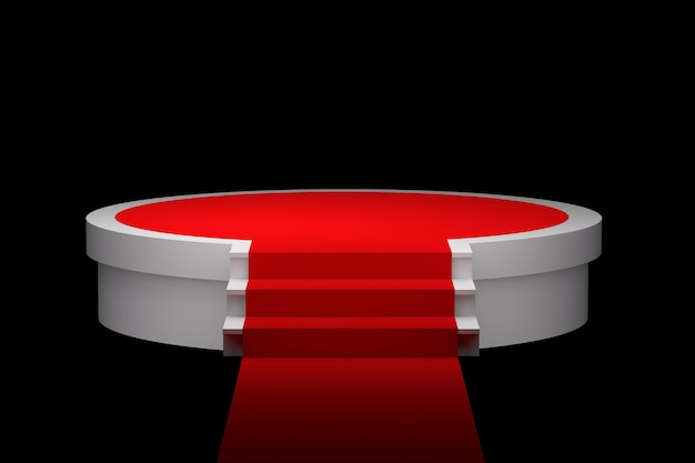 Podium blanc sur fond de tapis rouge
