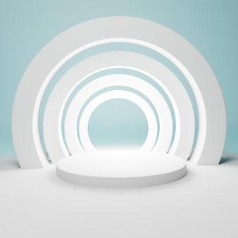 Podium blanc géométrique abstrait avec des arcs