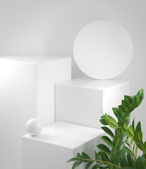 Podium blanc de maquette de rendu 3d avec illustration de fond de plante