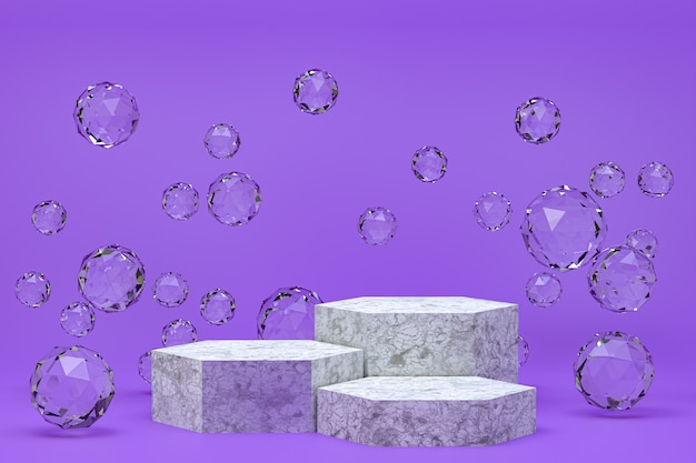 Podium blanc minimal abstrait fond violet pour la présentation de produits cosmétiques