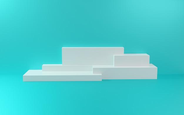 Podium blanc avec mur bleu et ombre douce