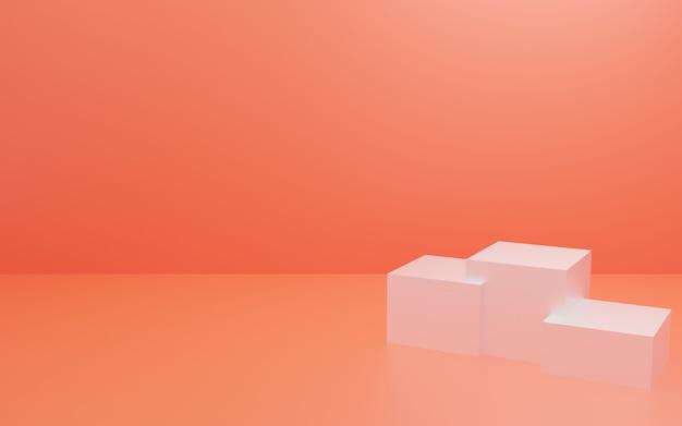 Podium blanc avec mur orange et ombre douce
