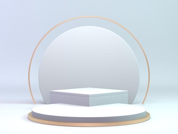 Podium blanc et or classique de rendu 3d pour produit cosmétique ou de beauté. fond de podium de luxe.