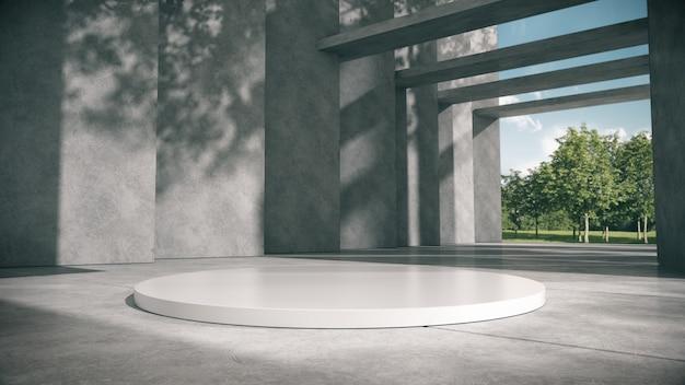 Podium blanc pour les produits montrent dans le couloir en béton avec fond de parc.