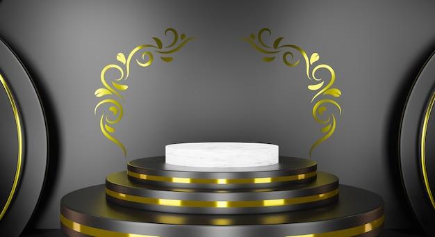 Podium Blanc De Rendu 3d Avec Or Floral Et Scène Noire. Photo Premium
