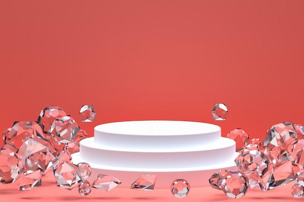 Podium blanc sur rose