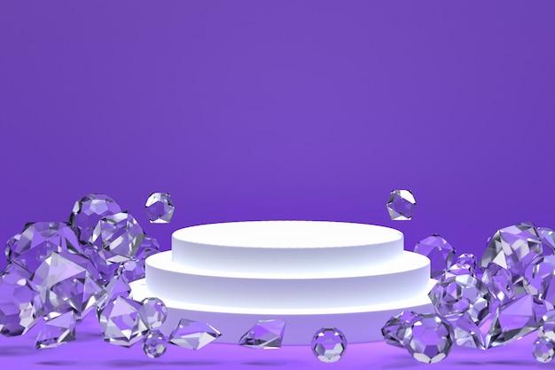 Podium blanc sur violet