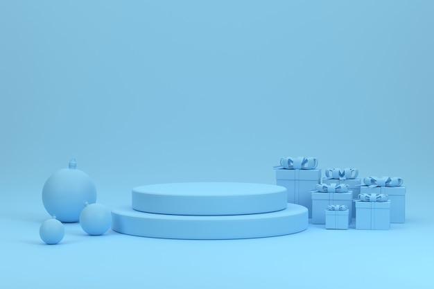 Podium bleu 3d boules de noël et coffrets cadeaux pour le produit d'exposition au festival de noël