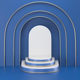 Podium bleu classique de rendu 3d pour le produit d'affichage.