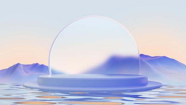 Podium bleu avec la conception de produits de verre et de montagnes illustration de rendu 3d