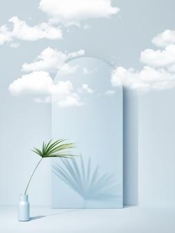 Podium bleu géométrique abstrait pour la présentation du produit, rendu 3d, illustration 3d