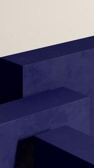 Podium bleu d'image de rendu 3d avec la publicité d'affichage de produit de fond blanc