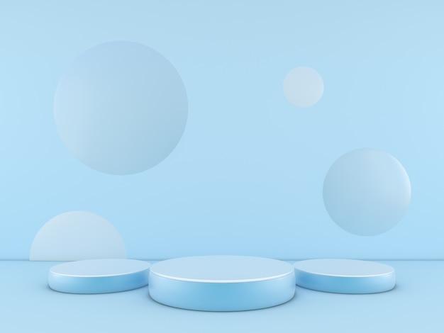 Podium bleu minimal sur fond de couleur bleue pour le produit. rendu 3d