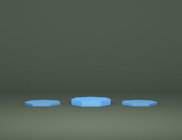 Podium bleu minimaliste abstrait pour la présentation du produit fond noir illustration de rendu 3d