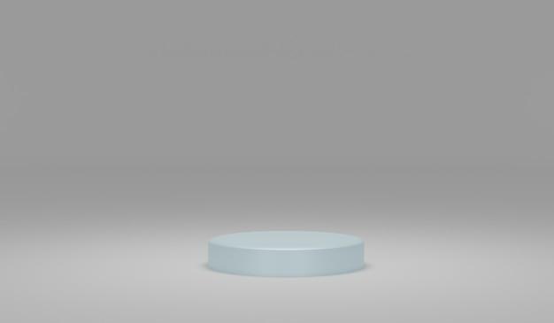 Podium bleu minimaliste avec fond gris élément de conception de rendu d'illustration 3d pour le produit