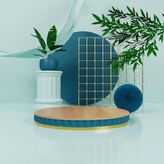 Podium bleu naturel avec or et tissu