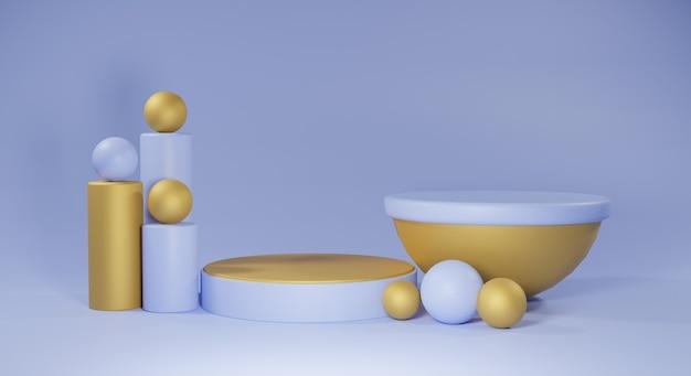Podium bleu et or sur fond bleu rendu 3d