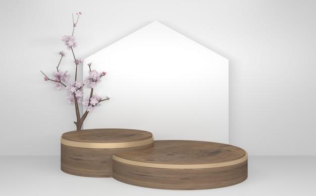 Podium en bois minimal abstrait de style géométrique blanc et or