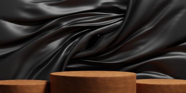 Podium en bois minimal avec fond de tissu de luxe noir pour la présentation du produit. illustration 3d