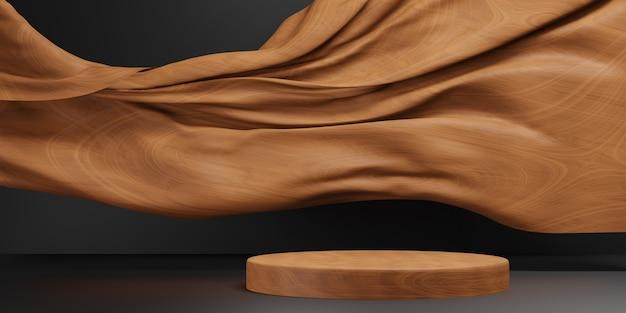 Podium en bois minimal avec mur en bois. modèle en bois, illustration 3d