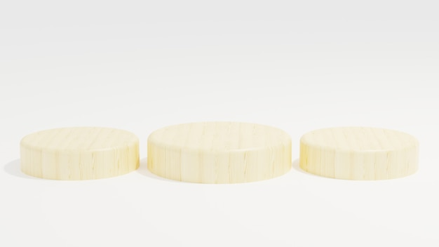 Podium en bois minimaliste sur fond blanc illustration 3d rendant minimaliste simple moderne