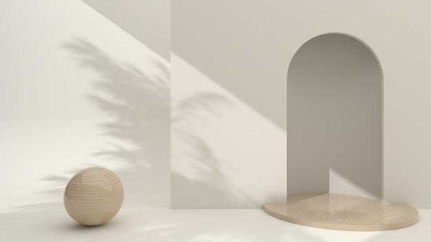 Podium en bois minimaliste avec scène d'affichage de composition abstraite pour la présentation du produit sur fond crème, rendu 3d, illustration 3d