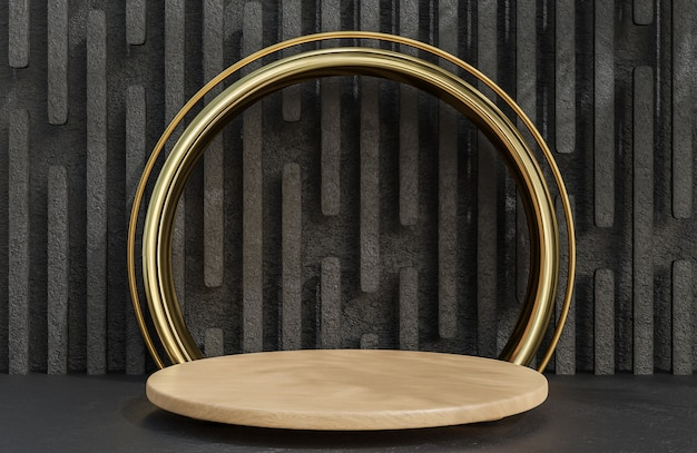 Podium en bois pour la présentation du produit et arche dorée sur le style de luxe de fond de mur de pierre.,modèle 3d et illustration.