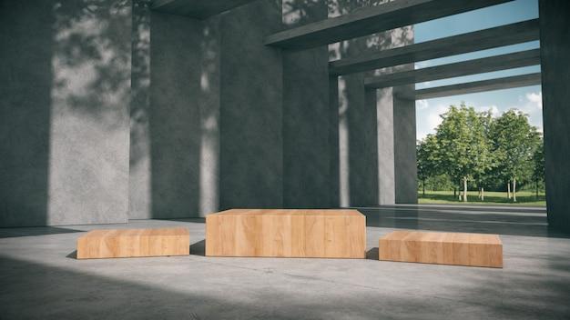 Podium en bois pour les produits montrent dans le couloir en béton avec fond de parc.