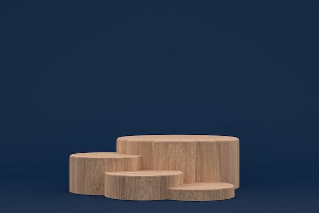 Podium en bois rendu 3d minimal pour la présentation des produits cosmétiques