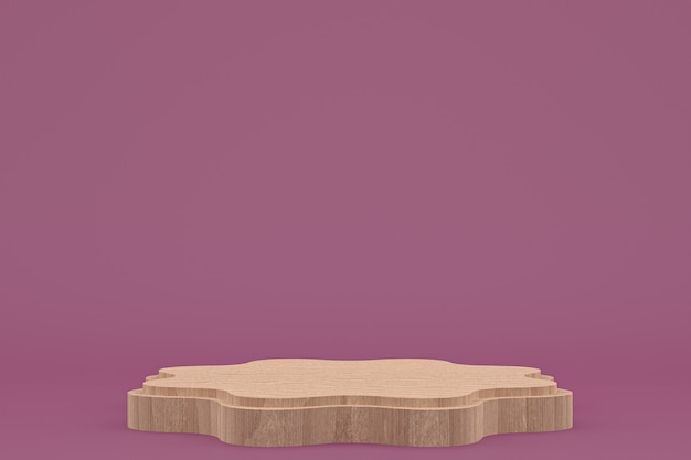 Podium en bois rendu 3d minimal ou présentation du produit stand