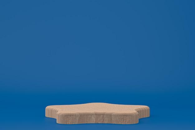 Podium en bois rendu 3d minimal ou support de produit pour fond de présentation de produit cosmétique