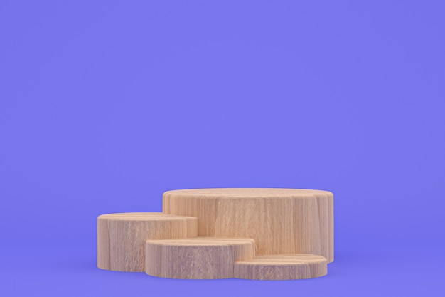Podium en bois rendu 3d minimal ou support de produit pour la présentation du produit